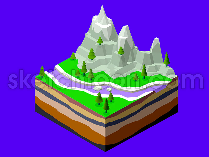 ISOMETRIC-3D-MINIMALISTIC-LANDSCAPE-MOUNTAINS