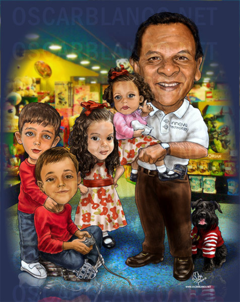 caricature-portrait-full-color-realistic-group-family-children-baby-grandfather-dog-big